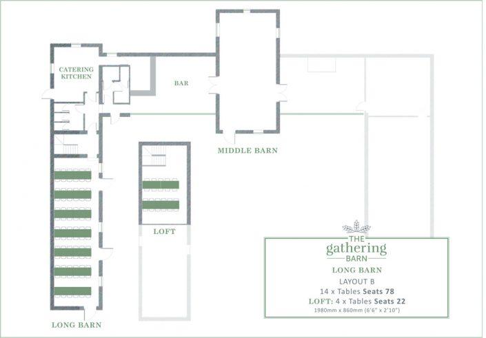 The Gathering Barn - Long Barn Table Layout B