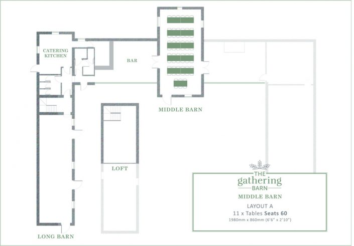 The Gathering Barn - Middle Barn Table Layout A
