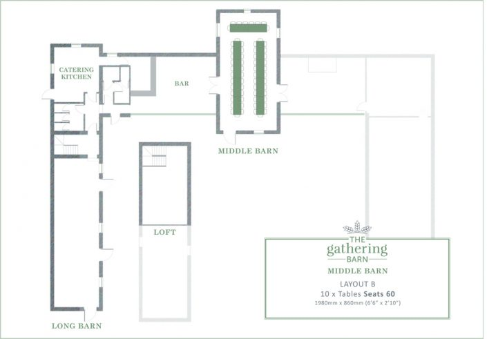 The Gathering Barn - Middle Barn Table Layout B