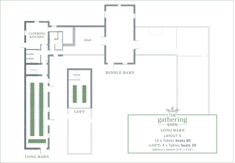 The Gathering Barn - Long Barn Table Layout A
