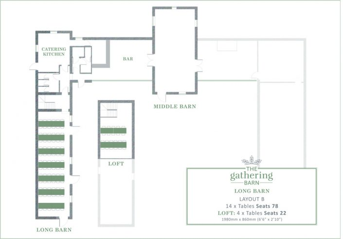 The Gathering Barn - Long Barn Table Layout B