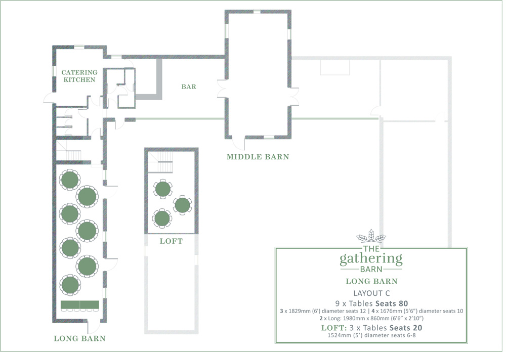 The Gathering Barn - Long Barn Table Layout C