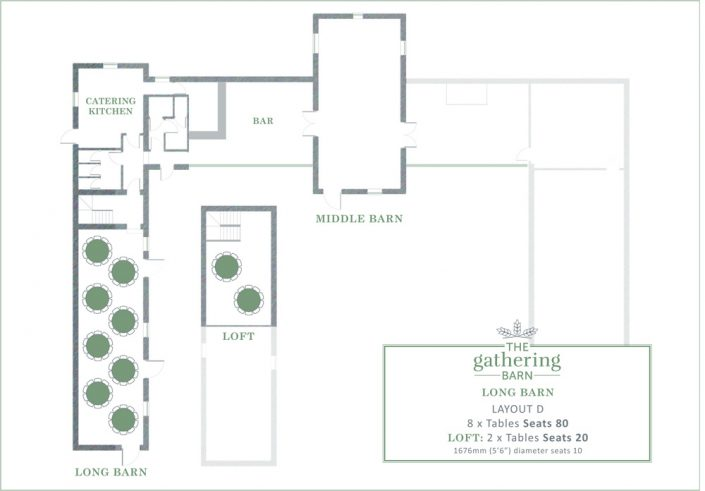 The Gathering Barn - Long Barn Table Layout D
