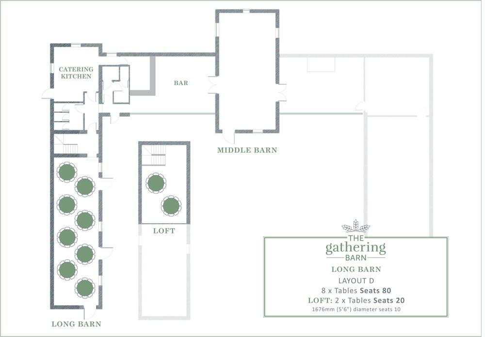 The Gathering Barn - Long Barn Table Layout D