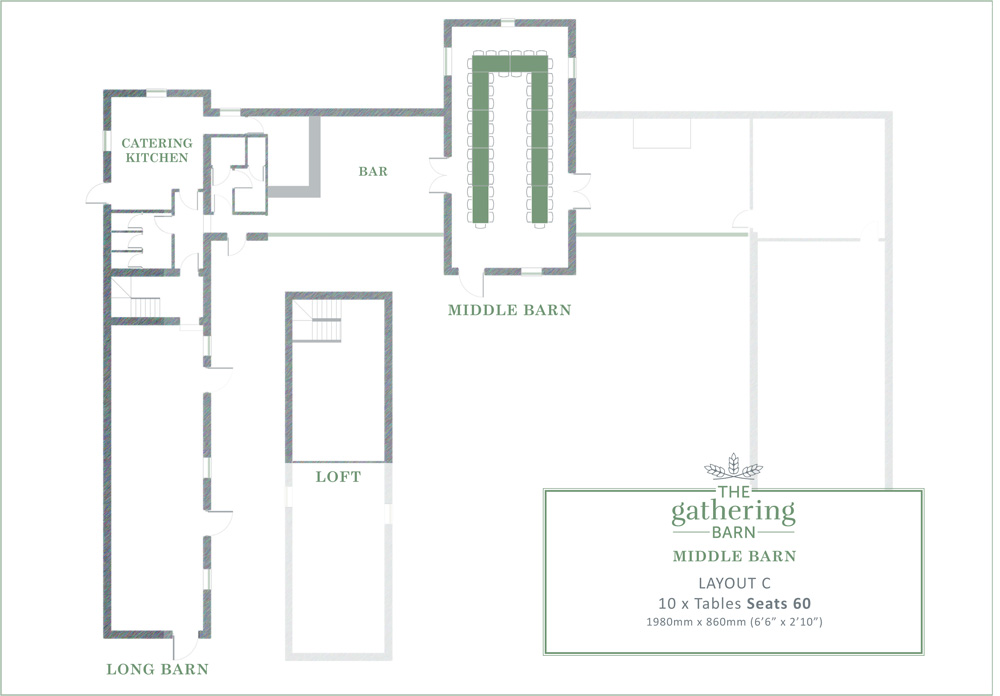 The Gathering Barn - Middle Barn Table Layout C