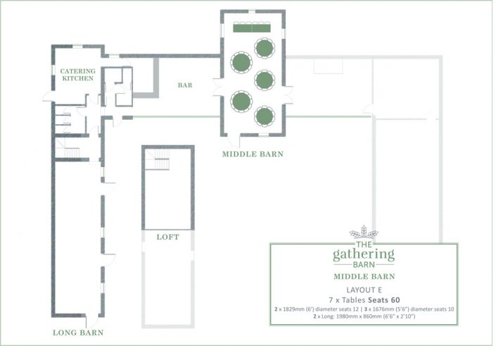 The Gathering Barn - Middle Barn Table Layout E