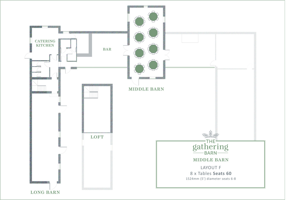 The Gathering Barn - Middle Barn Table Layout F